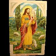 1911 Easter Postcard Heavily Embossed Jesus The and Lambs Good Shepherd