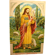 1911 Easter Postcard Heavily Embossed Jesus and Lambs Good Shepherd