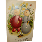 Early Postcard Whimsical Anthropomorphic Egg Characters Welcome Spring