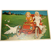 Whimsical Early Embossed Postcard Children, Geese, Vintage Automobile