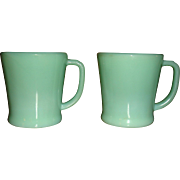 2 Fire King Oven Ware Heavy Flat Bottom Jadite Mugs for Coffee or Shaving Mint