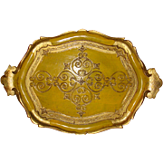 Florentine Wooden Large Tray Gold Gesso and Sunny Yellow Made in Italy