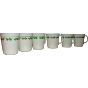 Set of 6 Heavy Pyrex Corning Christmas Holly Days D Handle Mugs  Berries and Leaves Mugs