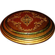 Florentine Wooden Gold Gesso Oval Box With Lid Brass Knob Fabric Lined Italy