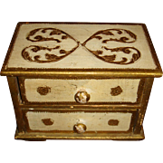 Doll Size Florentine Two Drawer Chest Heart Design Wooden Gold Gesso Italy