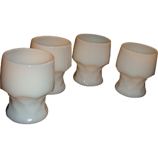 4 Anchor Hocking Diamond Georgian White Heavy Glass Tumblers Hard to Find Color