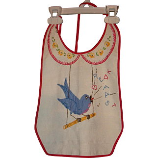 Vintage Appplique and Hand Crocheted Bib Bluebird on a Swing Singing Breakfast