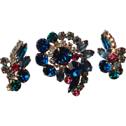 D & E Online Verified Juliana Brooch With Earrings Navettes, Marquise and Round Rhinestones