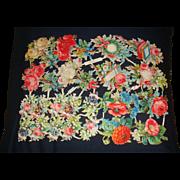 Uncut Paper Victorian  German Die-Cuts Diecuts Flowers, Hearts, Pansies, Poppies, Roses, Lily of the Valley