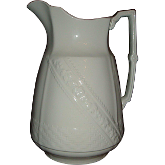 1890's Alfred Meakin Basketweave With Band White Ironstone Large Pitcher Ewer