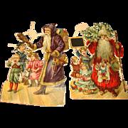 2 Victorian Santa Krampus Paper Diecuts Die-Cuts Printed in Germany