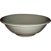 1890's Alfred Meakin English White Ironstone Basketweave and Band Large Basin Bowl