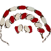 Red And White Thermoset and Silver Tone Necklace, Bracelet, Earrings, Parure
