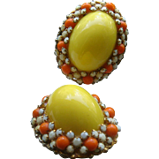 Bergere Vintage Clip Earrings Bold Yellow Dome and Orange Cabochons, White Faceted Stones