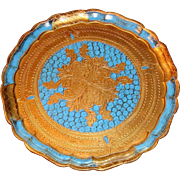 Hard to Find Vivid Blue Gold Gesso Florentine Tray Hearts, Fleur de Lis Made in Italy