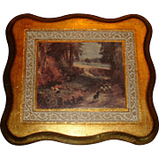 Florentine Gold Gesso Wood Plaque Well Known Sheep and Goats European Countryside