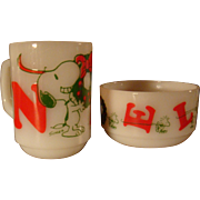 Fire King Snoopy and Woodstock Noel Mug and Bowl 1958, 1965, Anchor Hocking