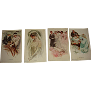 Set of 4 Harrison Fisher Unused Signed Postcards from About 1909 Proposal, Bride, Wedding, Baby