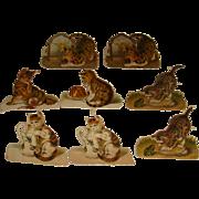 8 Victorian Paper Die Cuts Diecuts of Kittens Printed in Germany