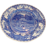 Olde English Staffordshire Blue White Plate Hot Springs, Little Rock, Arkansas Souvenir