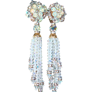 Lois Ann Cascading Waterfall Clip Earrings Crystal Rondelle Rhinestones Dangling