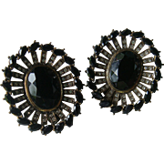 Black Glass Marquise Faceted Stones Channel Set Rhinestones Oval Clip Earrings