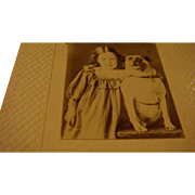 Very Early Miniature Photo With Little Girl and Her Dog Smaller than CDV