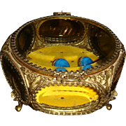 24K Gold Ormolu Jewelry Casket Beveled Glass 6 Panels IL Estate