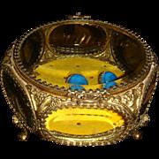 24K Gold Ormolu Jewelry Casket Beveled Glass 6 Panels IL Estate