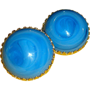 Vintage Castlecliff Art Glass Domed Clip Earrings Peacock Blue Eye