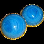 Vintage Castlecliff Art Glass Domed Clip Earrings Peacock Blue Eye