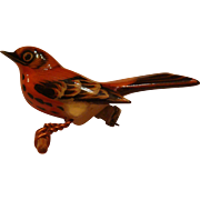 Authentic Takahashi Hand Carved and Painted Bird Thrush Pin Brooch