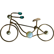 Whimsical Figural Bicycle Brooch Pin With Gemstones