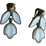 Crown Trifari 1950's Dangle Poured Glass Earrings From Dogwood Set