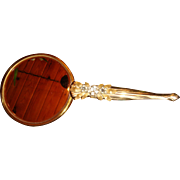 1940's- 1950's Jeweled Gold Plated  Gilt Vanity Beveled Hand Mirror 2 Sides