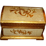 Florentine Italy Dome Trunk Box Wood ,Gold Gesso, Musical Instruments