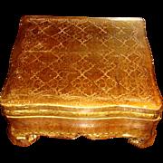 Florentine Italy Fleur de Lis Wooden Gold Gesso Box on Legs Apron Front