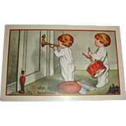 1913 Christmas Postcard Baby Twins Drum and Bugle Corps Wake Up Call