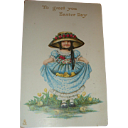 1912 Tuck Easter Postcard Little Bonnet Girl Large Hat, Roses, Dress Full of Baby Chicks