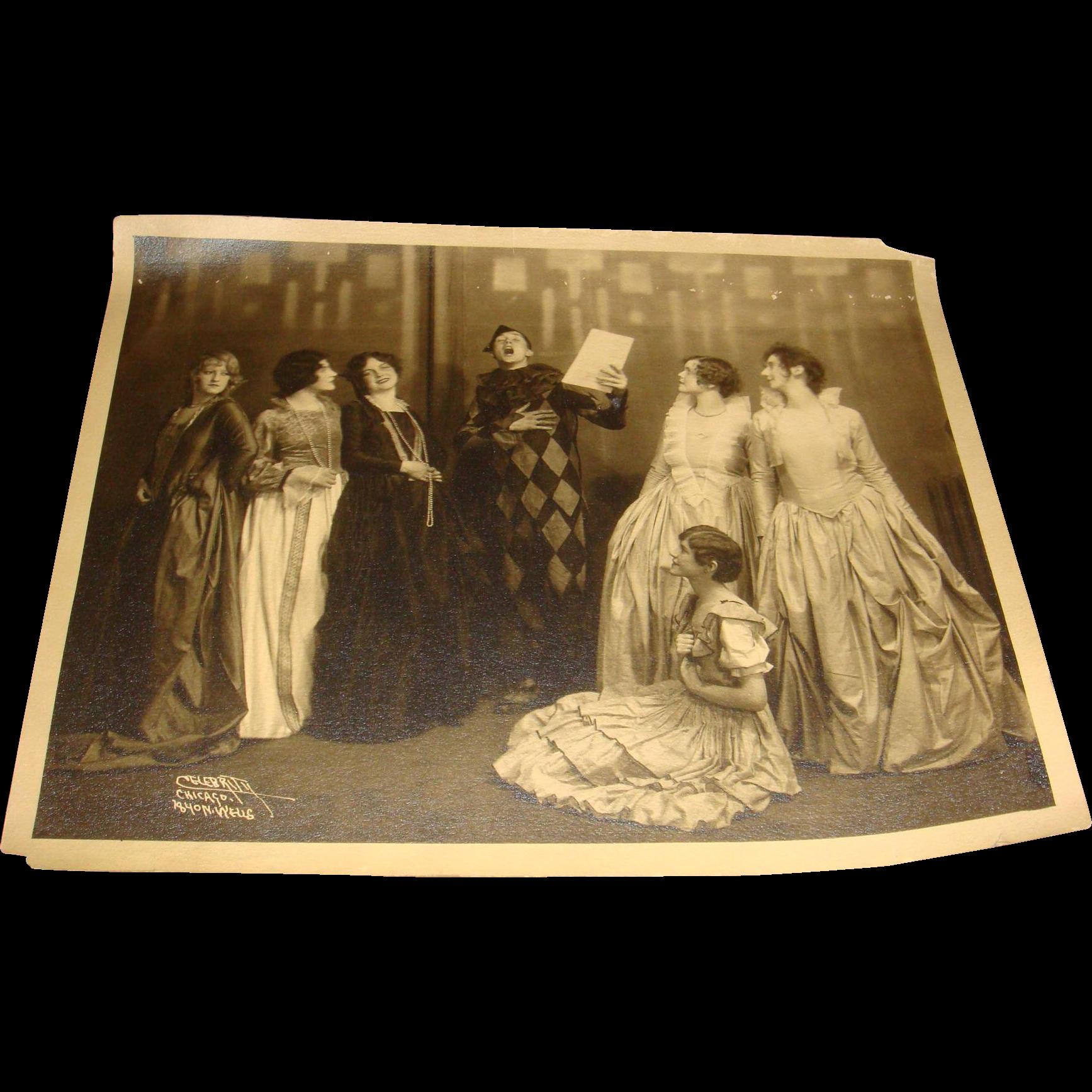 Sepia Photo Vaudeville Jester And Ladies Victorian