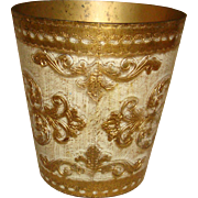 Vintage Florentine Wood Gold Gesso Waste Basket Trash Can Made in Italy