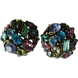 Domed Pastel Hollycraft Clip Earrings Marquise, Oval, Emerald, Round, Pear, Baguette Cut Stones