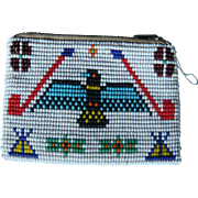 Native American Indian Beaded Coin Purse Zipper Pouch Leather Lined Eagle, Peace Pipe, Tepee