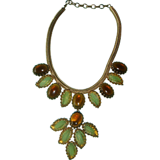 Schreiner Autumn Leaf Art Glass Cabochon Necklace Pendant Brooch Topaz and Gold