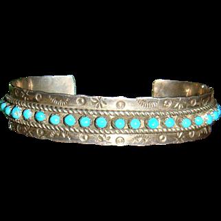 Signed JP Sterling Silver Turquoise Native American Zuni Cuff Bracelet