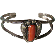 Sterling Silver Leaf and Coral Cuff Bracelet Southwest Native American