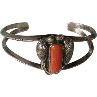 Sterling Silver Leaf and Coral Cuff Bracelet Southwestern or Native American