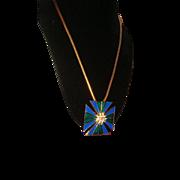 Ciner Enamel and Rhinestone Maltese Cross Pendant Necklace and Brooch