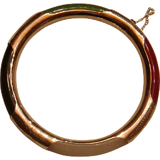 4 Color Jade and Etched Sterling Silver Hinged Bangle Bracelet With Safety Chain
