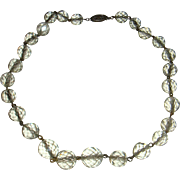 Sterling and Rock Clear Crystal Faceted Glass Orb Necklace Choker